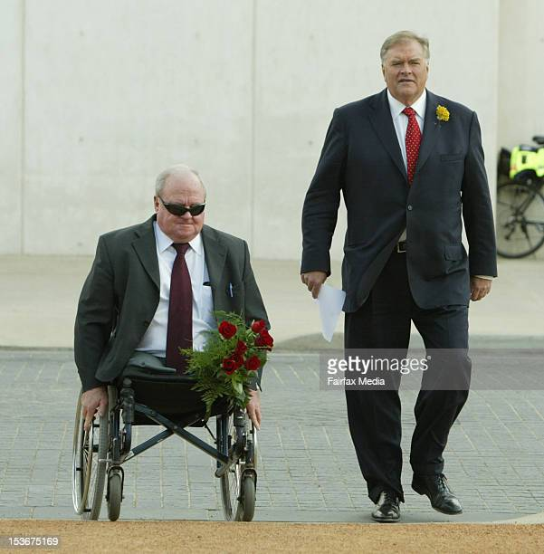 Vietnam Veteran and doubleamputee Graeme Edwards and Opposition Leader Kim Beazley attend a memorial service for the victims of the 2002 Bali...