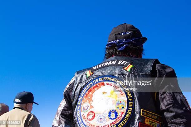 Vietnam Veteran Wearing Vest Honoring Fallen Heroes, Veterans' Day
