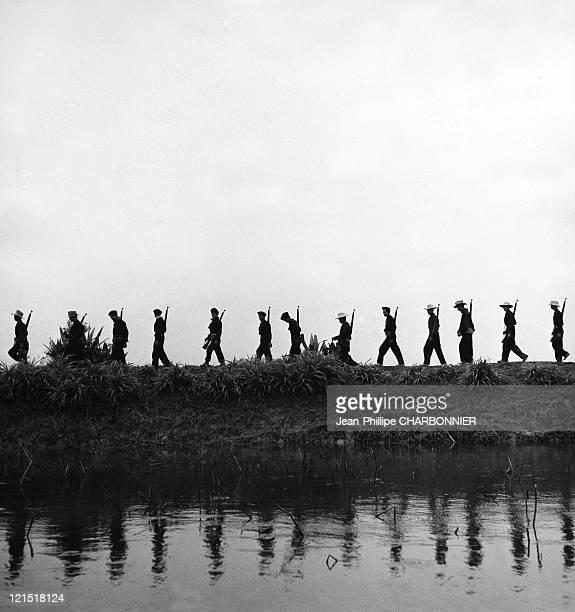 Vietnam Vietnamese Back Up Soldiers Patrol In 1952