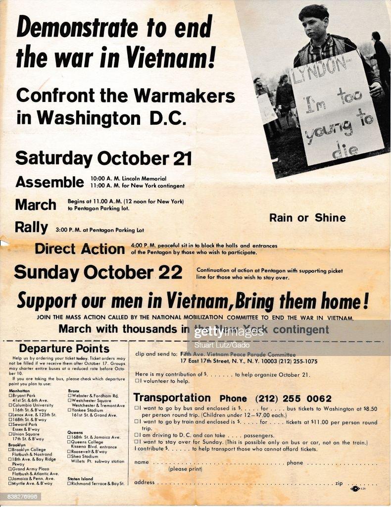 Anti-Vietnam War March Leaflet : News Photo