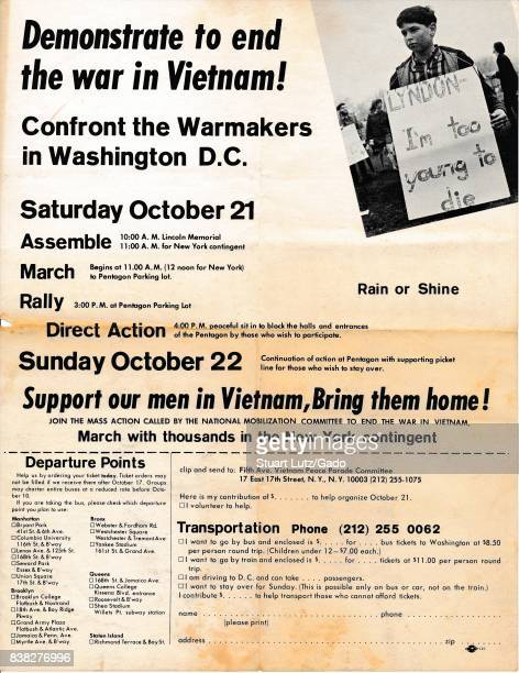 "Vietnam War era leaflet from the Fifth Avenue Vietnam Peace Parade Committee titled ""Demonstrate to end the war in Vietnam!"" advocating that readers..."