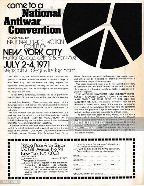 A Vietnam War era leaflet from the National Peace Action Coalition titled 'Come to a National Antiwar Convention' advocating citizens attend the...