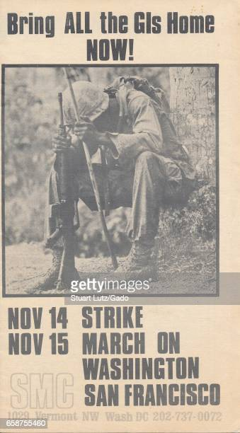 A Vietnam War era leaflet from the Student Mobilization Committee titled 'Bring ALL the GIs home NOW' advocating a student strike and marches on San...