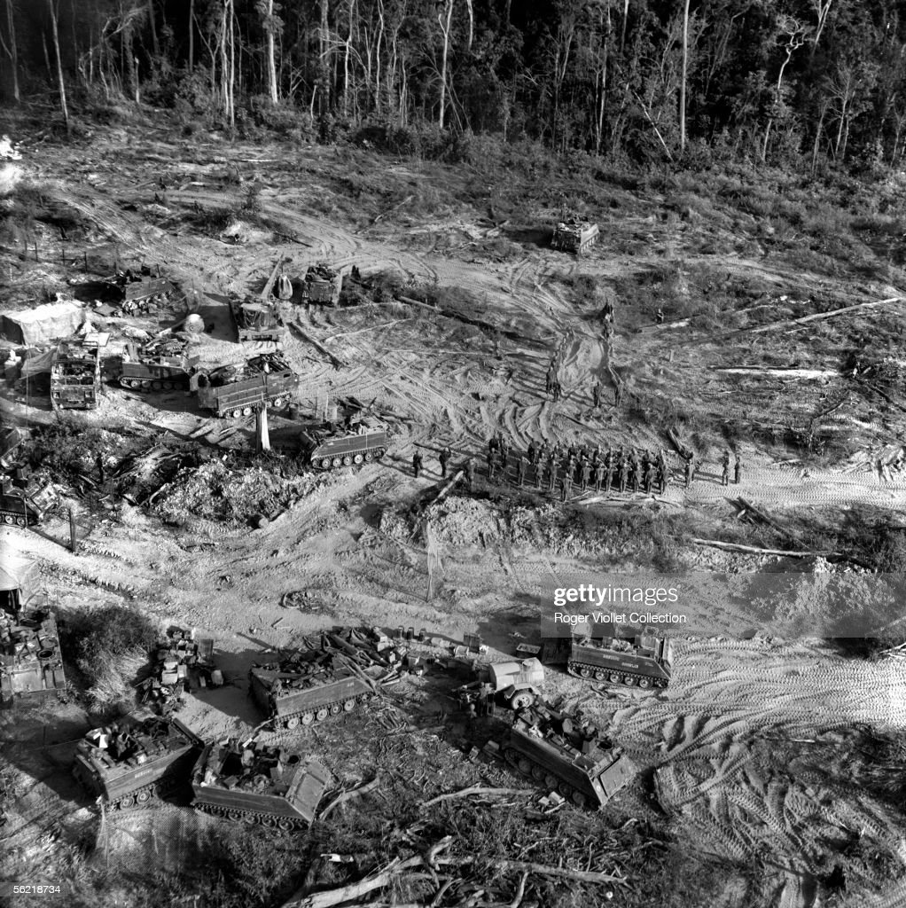 vietnam war fire support base near the frontier of the cambodia