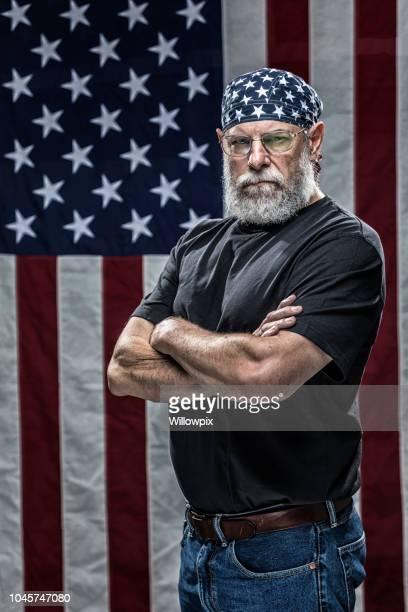 usa vietnam war military veteran wearing patriotic stars skull cap - do rag stock pictures, royalty-free photos & images