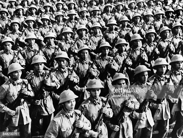 Vietnam War Parade of a North Vietnamese infantry unit in Hanoi December 1964
