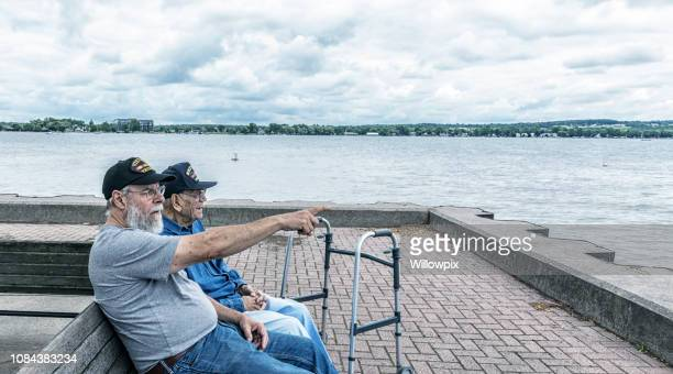 Vietnam War USA Military Veteran Pointing Toward the Lake