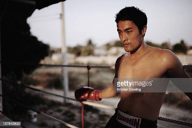 Vietnamese actor Johnny Nguyen participates in a Muay Thai Kickboxing training session at AuPisit Baan Training Camp while on a break from the Hua...