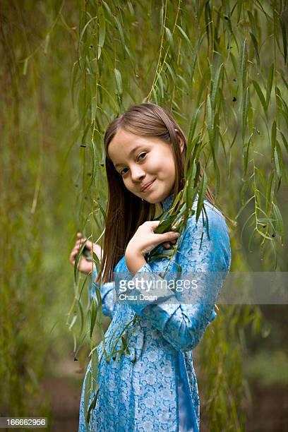 Vietnamese American teenage girl in traditional attire MODEL RELEASED