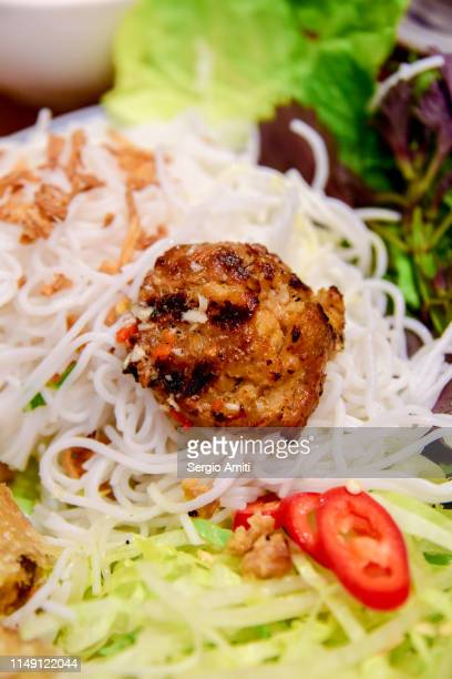 Vietnamese beef pattie and rice vermicelli