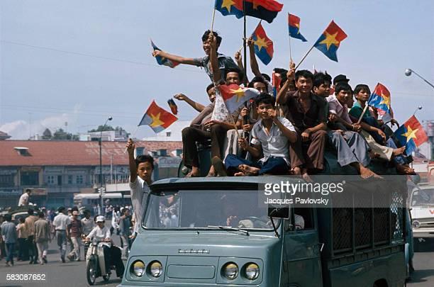 Vietnamese celebrate after the fall of Saigon