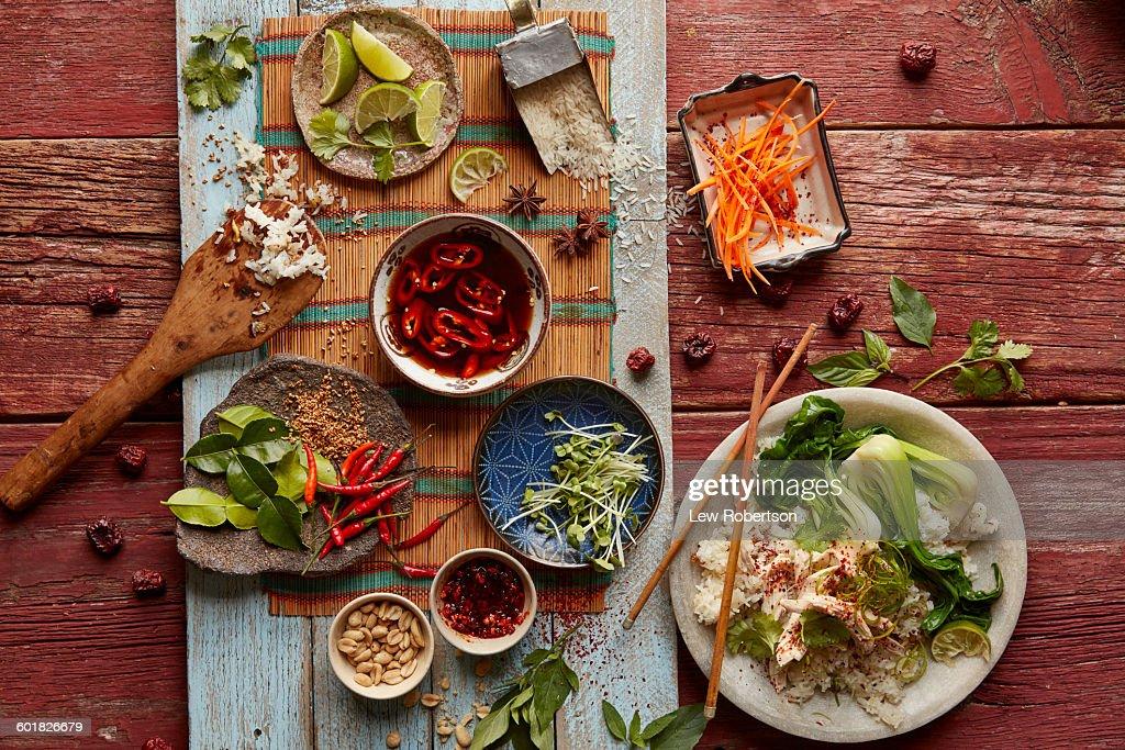 Vietnamese chicken and rice : Stock-Foto