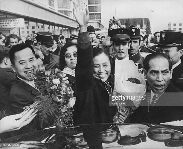Vietnamese Communist leader Nguyen Thi Binh arrives at Le Bourget Airport in Paris to head the Viet Cong delegation 4th November 1968