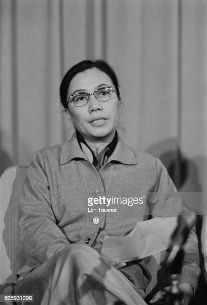 Vietnamese communist leader Nguyen Thi Binh, who negotiated at the Paris Peace Conference on behalf of the Viet Cong, at L.A.P. , London, 28th...