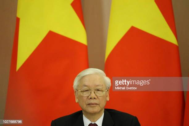 Vietnamese Communist Party General Secretary Nguyen Phu Trong attends his meeting with Russian President Vladimir Putin September 6 2018 in Sochi...