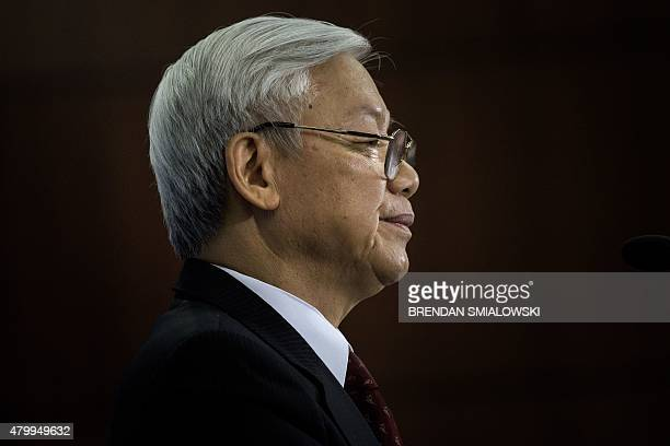 Vietnamese Communist Party General Secretary Nguyen Phu Trong looks while speaking at the Center for Strategic and International Studies in...