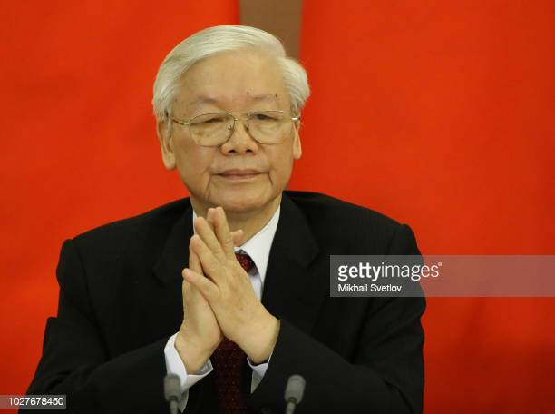 SOCHI RUSSIA SEPTEMBER6 Vietnamese Communist Party General Secretary Nguyen Phu Trong smiles during his meeting September 6 2018 in Sochi Russia...