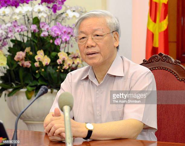 Vietnamese Communist Party Leader Nguyen Phu Trong speaks during a press conference ahead of his visit to Japan on September 12 2015 in Hanoi Vietnam