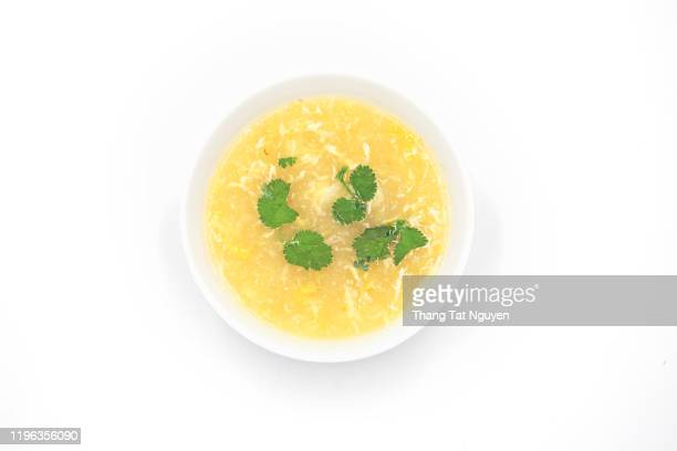 vietnamese corn soup with egg - golden egg restaurant stock pictures, royalty-free photos & images