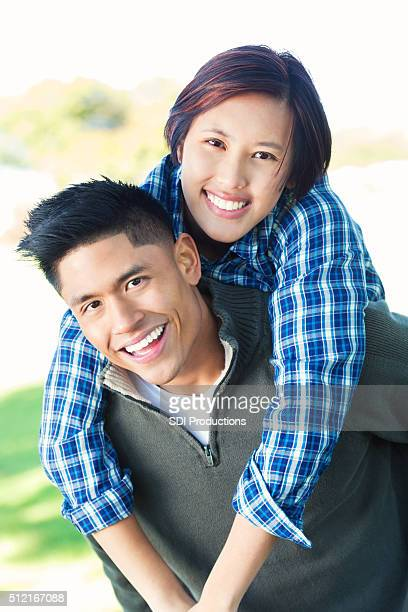 Vietnamese couple in park