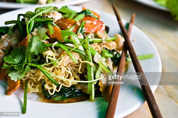 vietnamese cuisine. shrimp noodle dish - traditionally vietnamese stock pictures, royalty-free photos & images