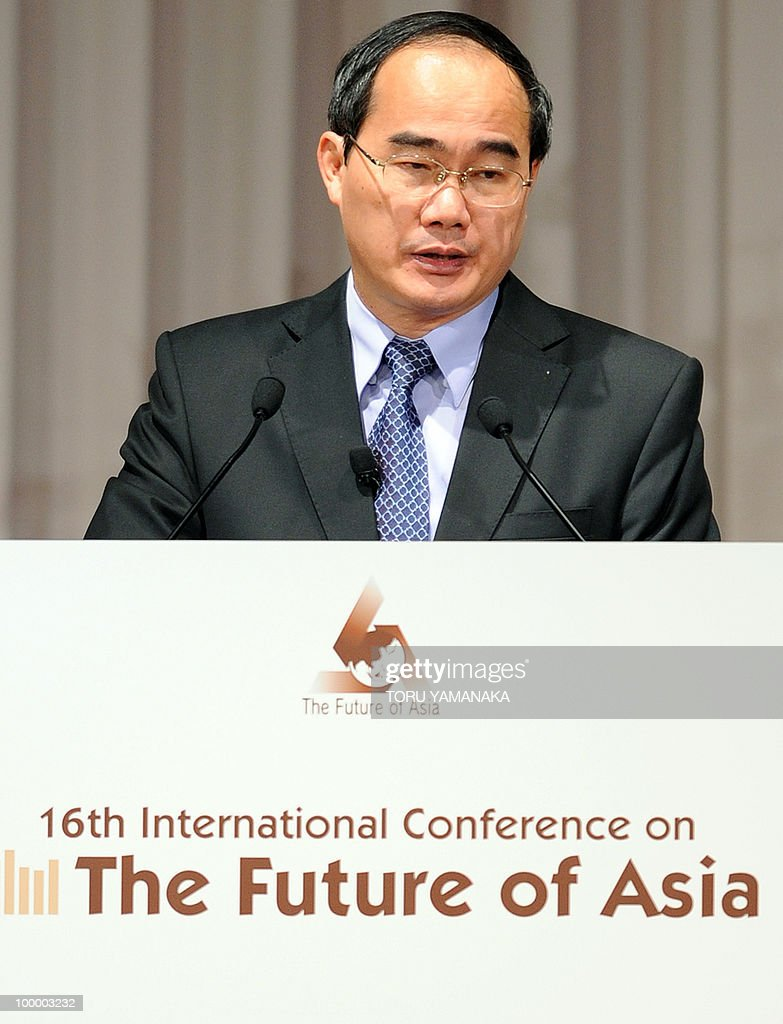 Vietnamese Deputy Prime Minister Nguyen Thien Nhan delivers a speech during an internatilonal conference on the Future of Asia in Tokyo on May 20, 2010. Asian political, diplomatic, business and academic leaders attend the two-day symposium, entitled 'The Future of Asia.' AFP PHOTO/Toru YAMANAKA