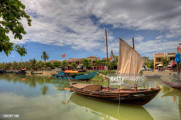 Vietnamese fishing boats in a village in Hoi An, Vietnam