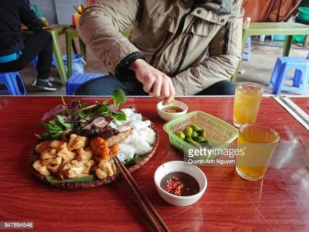 Vietnamese food in Hanoi: bun dau mam tom