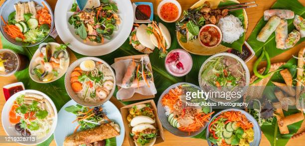vietnamese food table. - nazar abbas photography stock pictures, royalty-free photos & images
