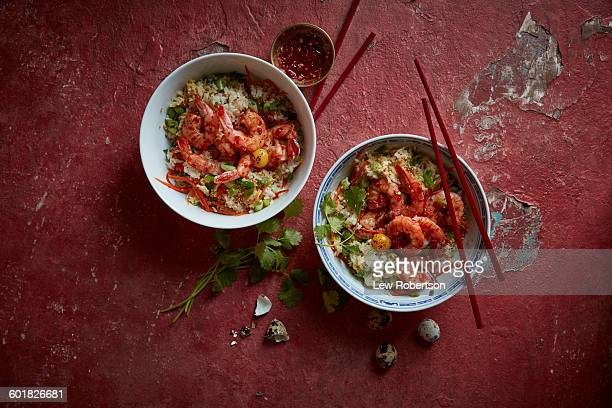vietnamese fried rice and shrimp - vietnamese culture stock pictures, royalty-free photos & images