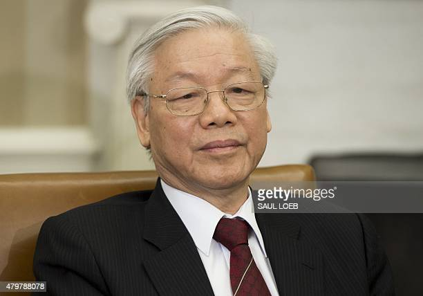 Vietnamese General Secretary Nguyen Phu Trong during a meeting with US President Barack Obama in the Oval Office of the White House in Washington,...