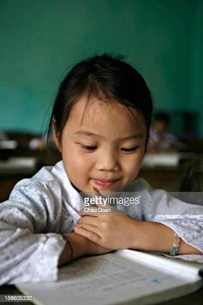 Vietnamese girl at Na Tri primary school Xin Man district Ha Giang province There are more than 780000 H'mong in Vietnam with 40% of households...