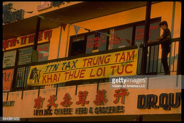 A Vietnamese grocery store in Garden Grove California 1986 | Location Bolsa Street Little Vietnam Garden Grove California USA