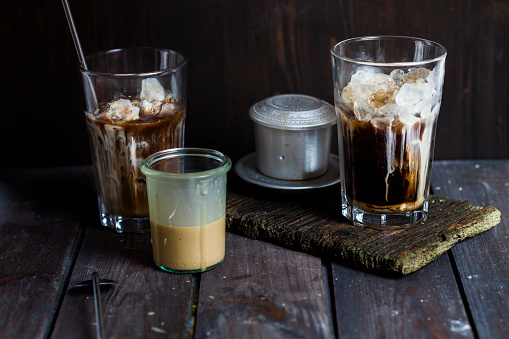 Vietnamese iced coffee with strong coffee, sweetened condensed milk, ice - gettyimageskorea
