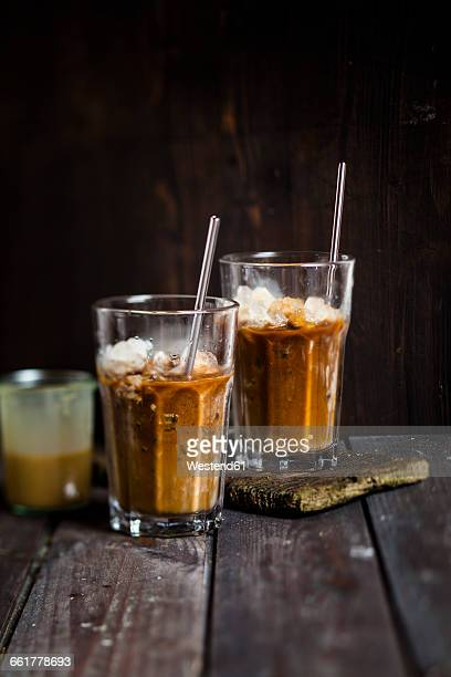Vietnamese iced coffee with strong coffee, sweetened condensed milk, ice