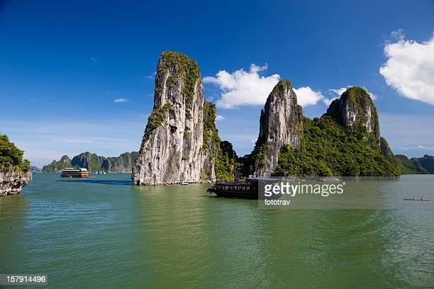 Vietnamese Junk cruising on Halong Bay, Hanoi, Vietnam
