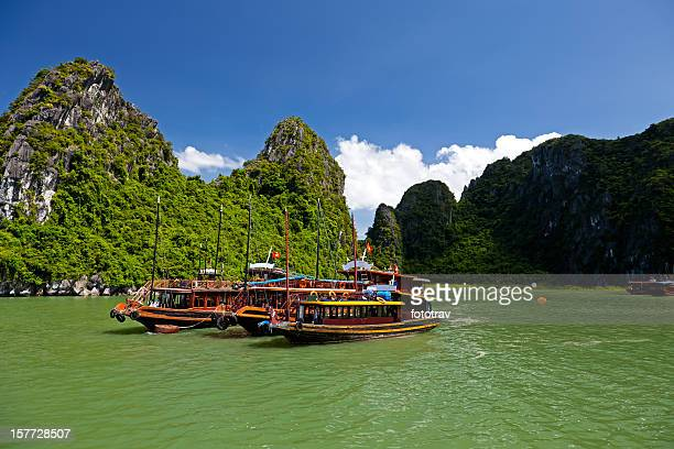Vietnamese Junks on Halong Bay, Hanoi, Vietnam