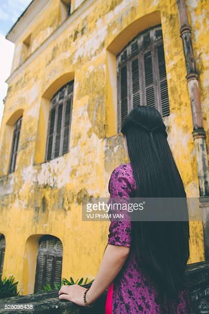 Vietnamese lady in traditional ao dai dress
