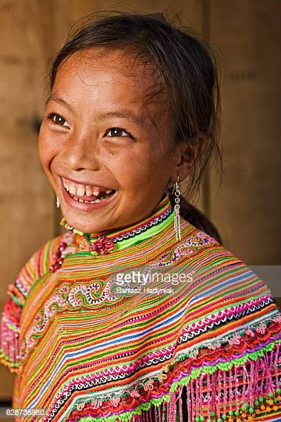 Vietnamese little girl from Flower Hmong Tribe