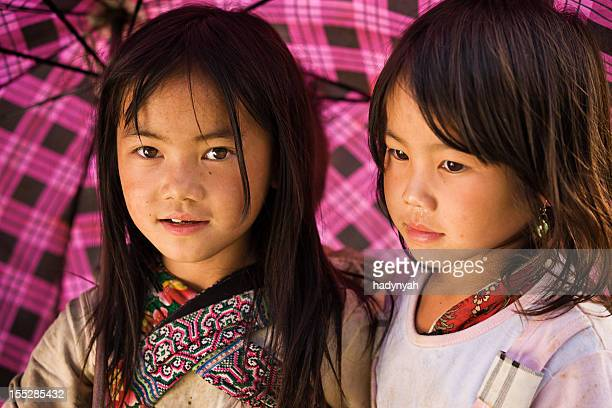 vietnamese little girls from hmong tribe - traditionally vietnamese stock pictures, royalty-free photos & images