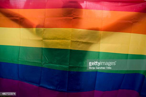 A vietnamese man dances as he holds a rainbow flag during the fourth gay pride parade on August 2 2015 in Hanoi Vietnam Hundreds of demonstrators...