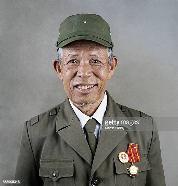 Vietnamese man in soldier uniform