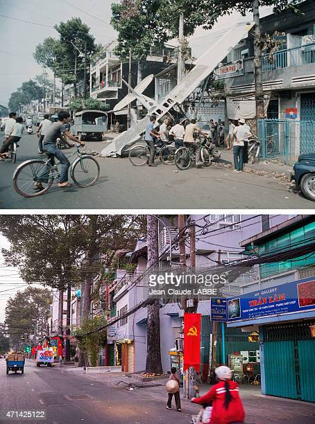 In this beforeandafter composite image The Fall of Saigon Vietnam in April 1975Airplane carrying soldiers with gold and dollars shot down in the...