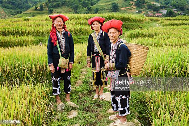Vietnamese minority people - women from Red Dao hill tribe