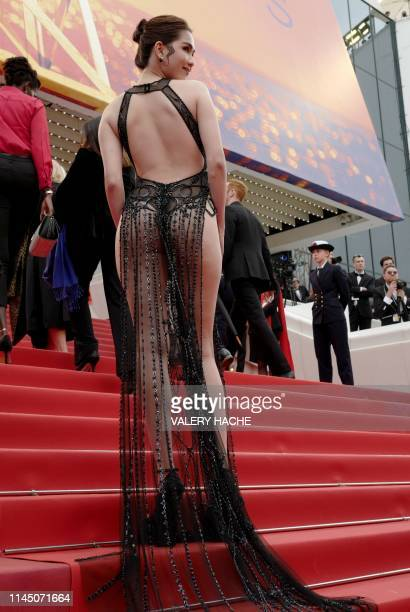 Vietnamese model Ngoc Trinh poses as she arrives for the screening of the film A Hidden Life at the 72nd edition of the Cannes Film Festival in...