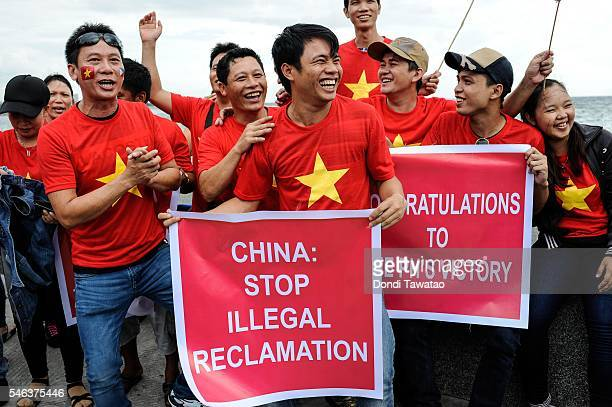Vietnamese nationals mount a protest rally against China's territorial claims in the Spratlys group of islands in the South China Sea on July 12 2016...