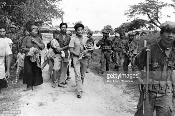 Vietnamese people are taken by Cambodian government soldiers after North Vietnam's 'Campaign X' after Prince Norodom Sihanouk was overthrown on April...