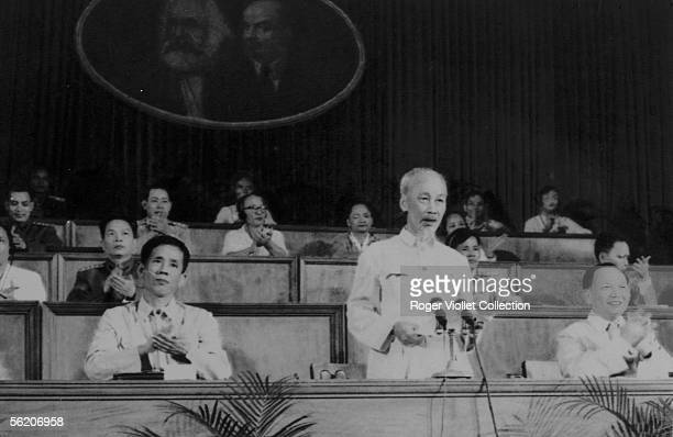 Vietnamese president Ho Chi Minh making a speech with the third Congress of the workers of Vietnam 1960