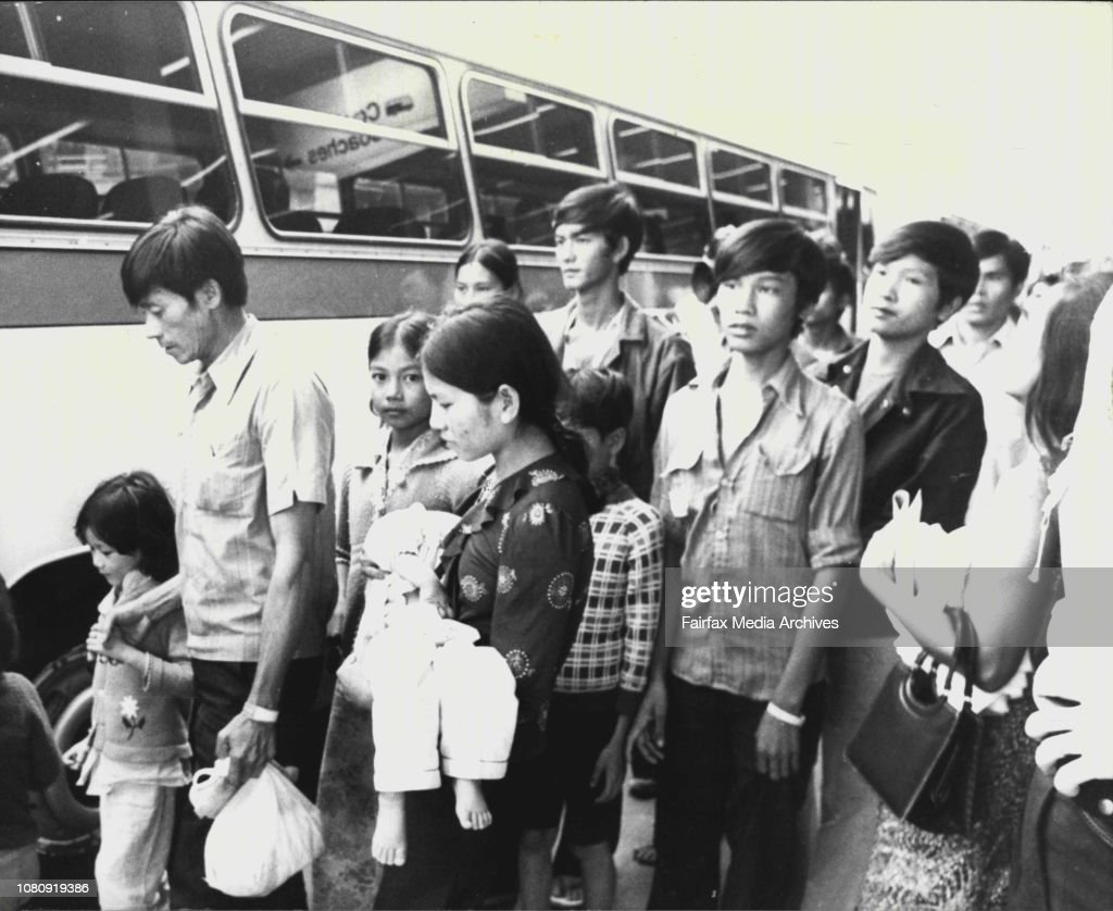 Vietnamese refugees - 122 of them from the song be 12, wait in a transit lounge at the Ansett terminal at Sydney airport today for coaches to take them to the Westbridge Hotel at Villawood. : News Photo
