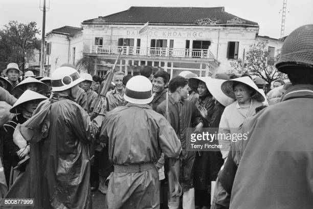 Vietnamese refugees returning to the city of Hu after the Battle of Hu Vietnam War February 1968